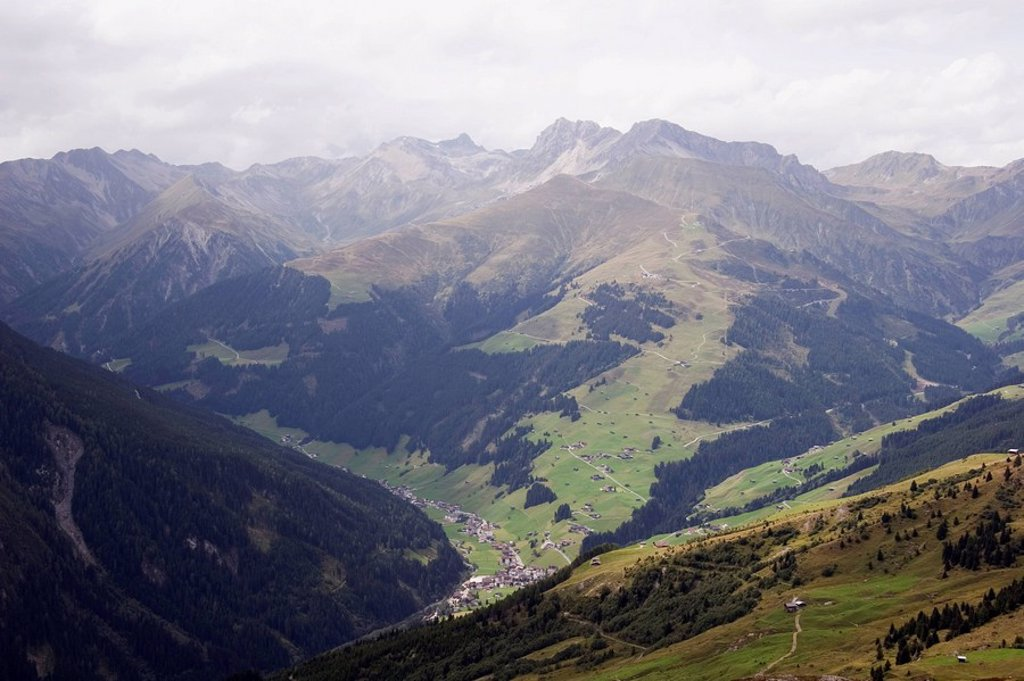 mayrhofen, tyrol, austria, alpine meadows and a view of the mountains : Stock Photo