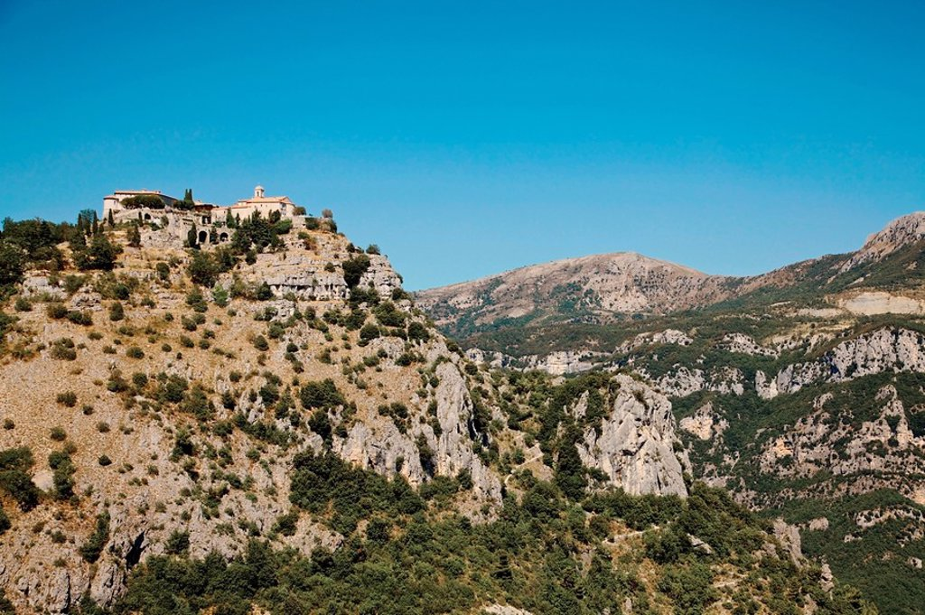 gourdon, provence, france, houses at the top of a mountainous landscape : Stock Photo
