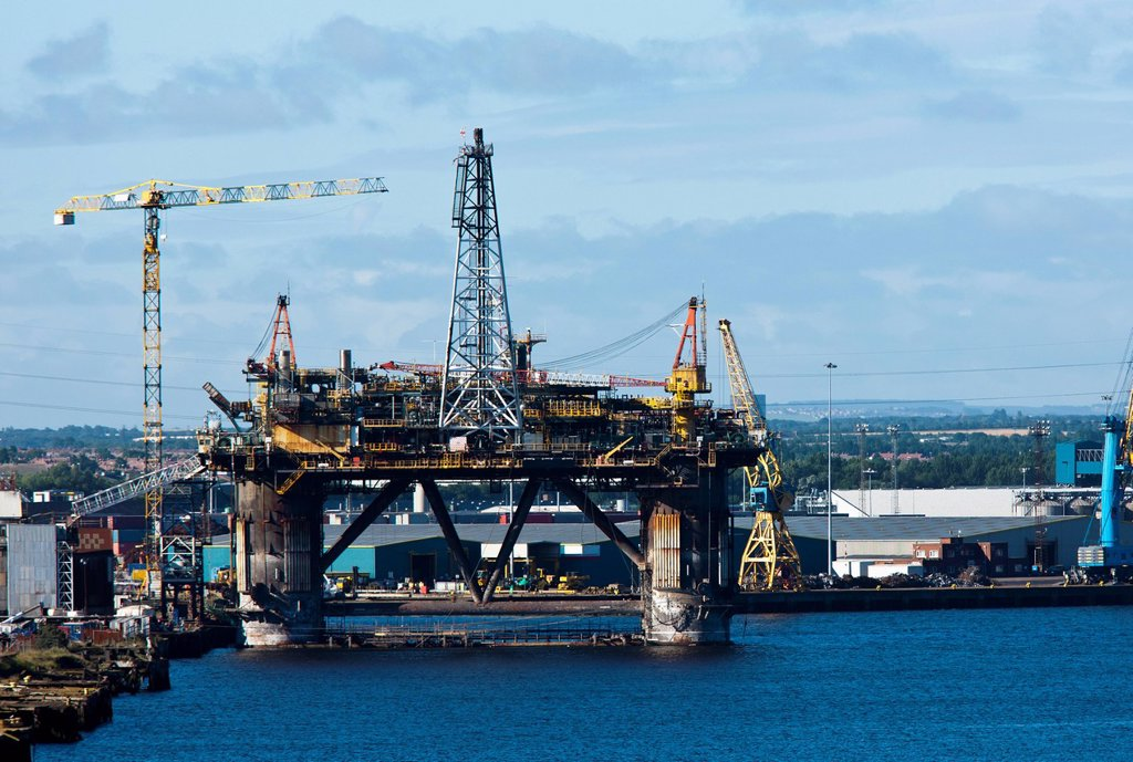 Stock Photo: 1889-57141 An Oil Rig On River Tyne, South Shields, Tyne And Wear, England