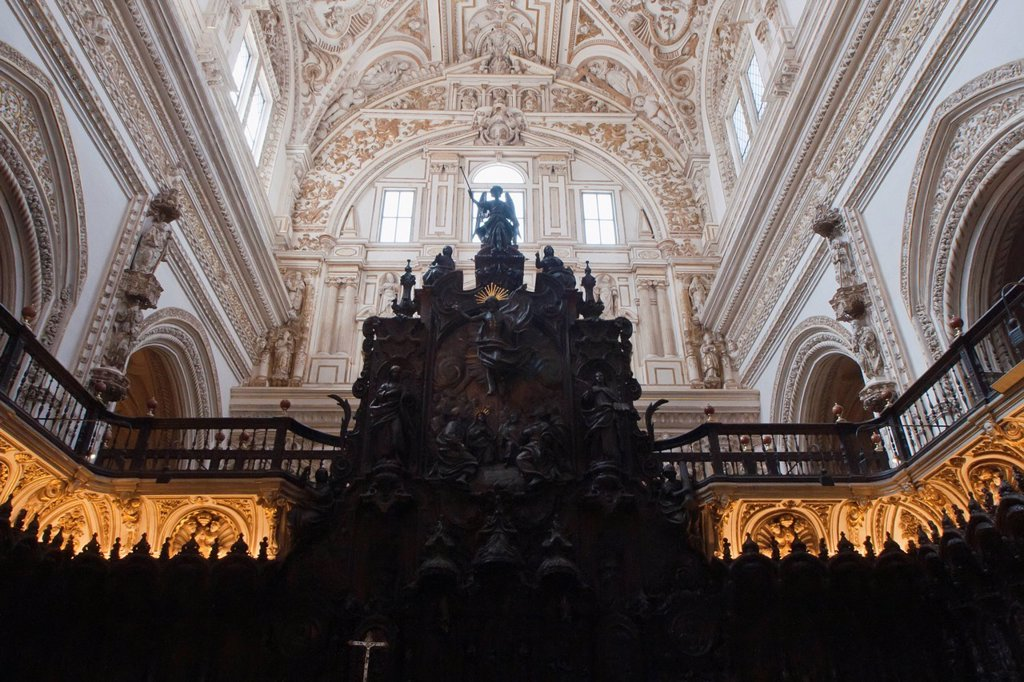 Renaissance Choir Loft In The Cathedral Of Our Lady Of The Assumption Great Mosque Of Cordoba, Cordoba, Andalusia, Spain : Stock Photo