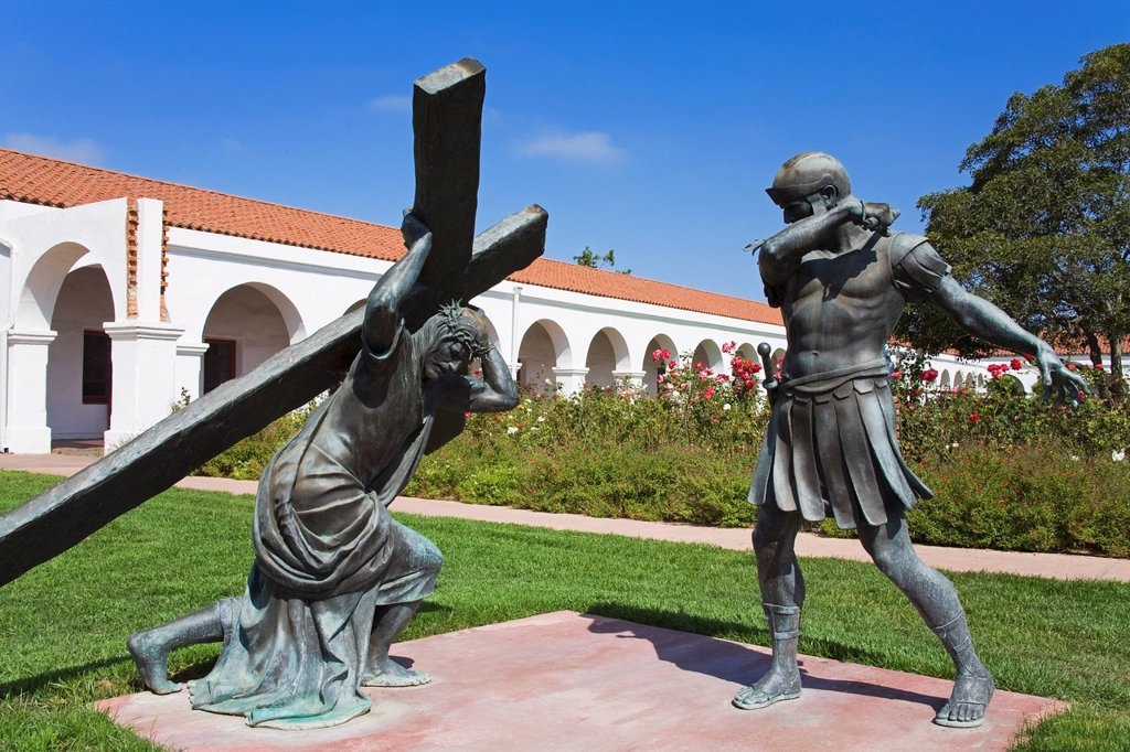 Statue At San Luis Rey Mission Church, Oceanside, California, United States Of America : Stock Photo