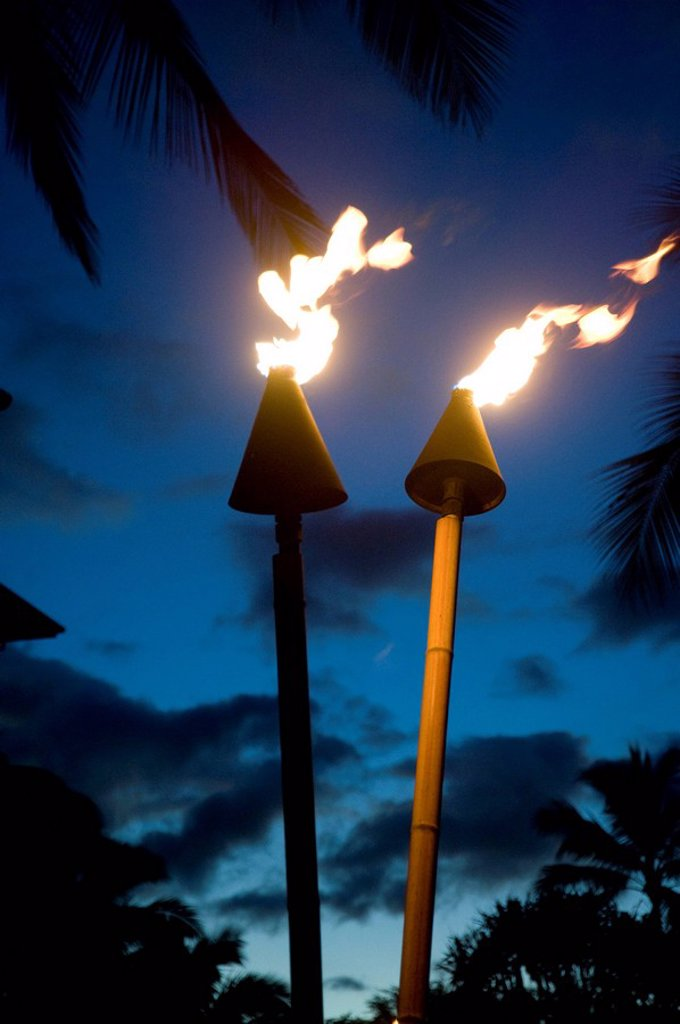 Stock Photo: 1889-57763 Flaming torches, Maui, Hawaii, USA