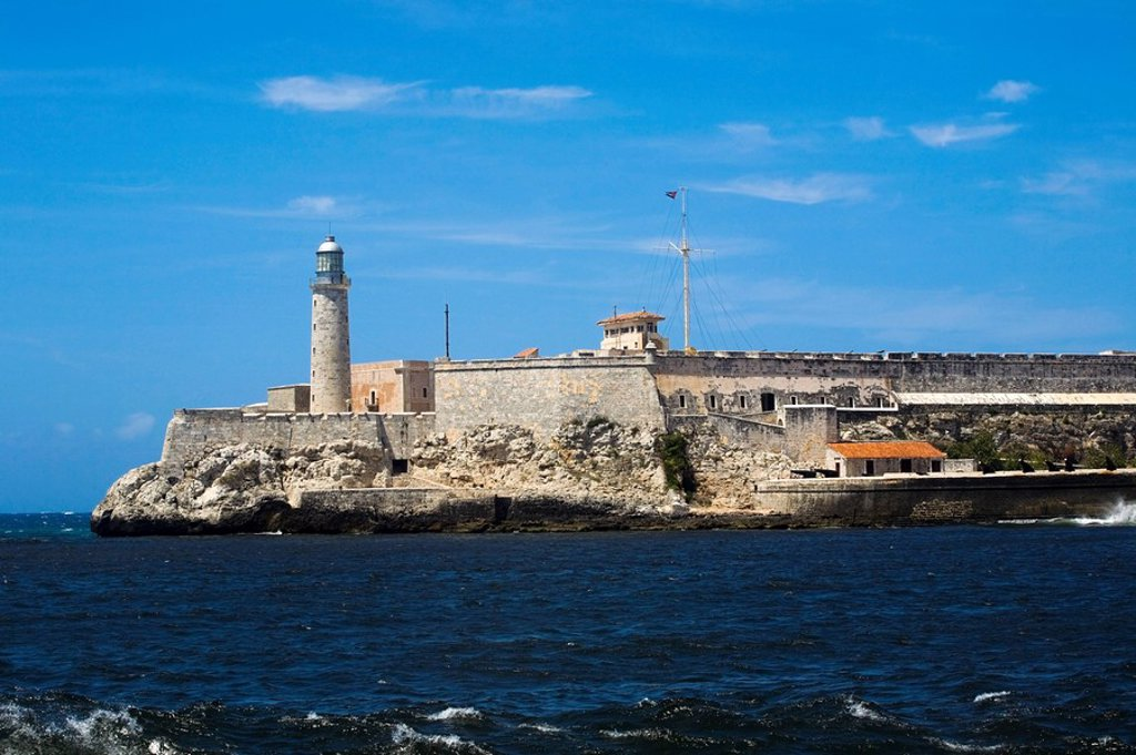 Lighthouse at Morro Castle, Havana, Cuba : Stock Photo