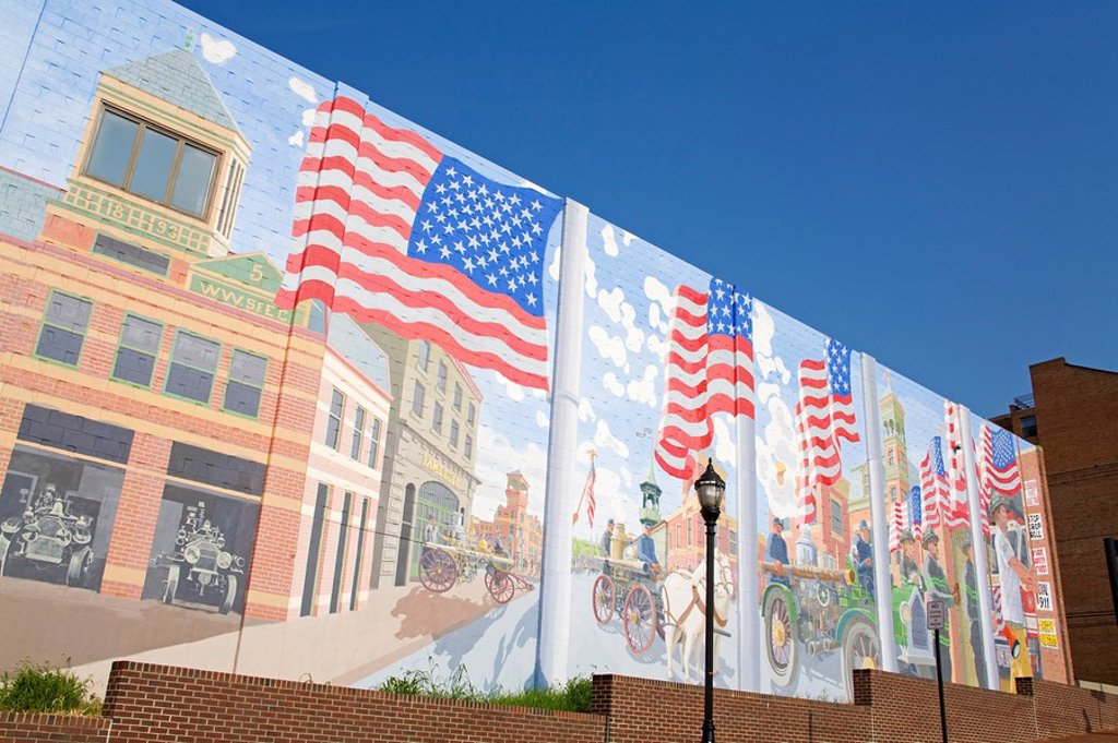 Mural on Fire Station 1, Wilmington, Delaware, USA : Stock Photo
