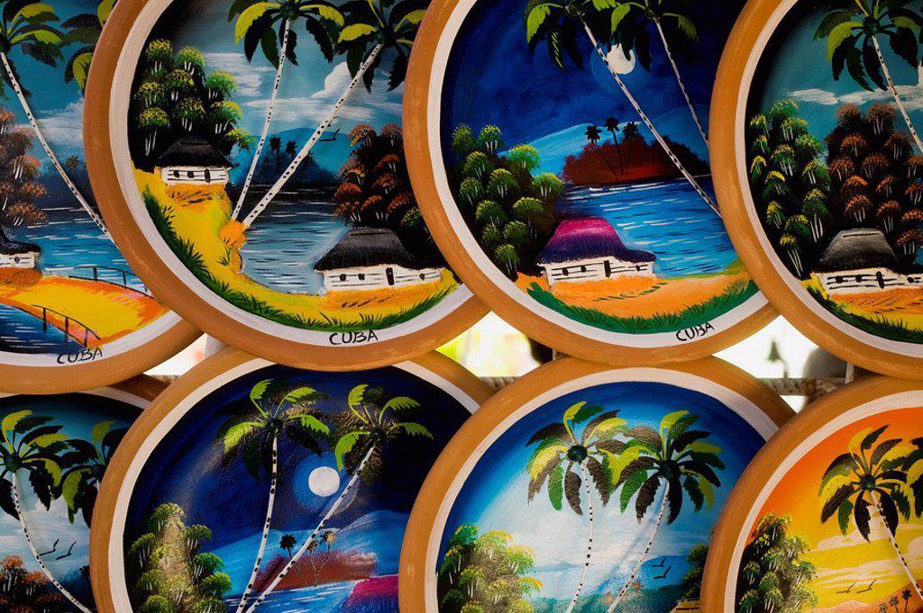 Stock Photo: 1889-58211 Caribbean souvenir plates, Cuba
