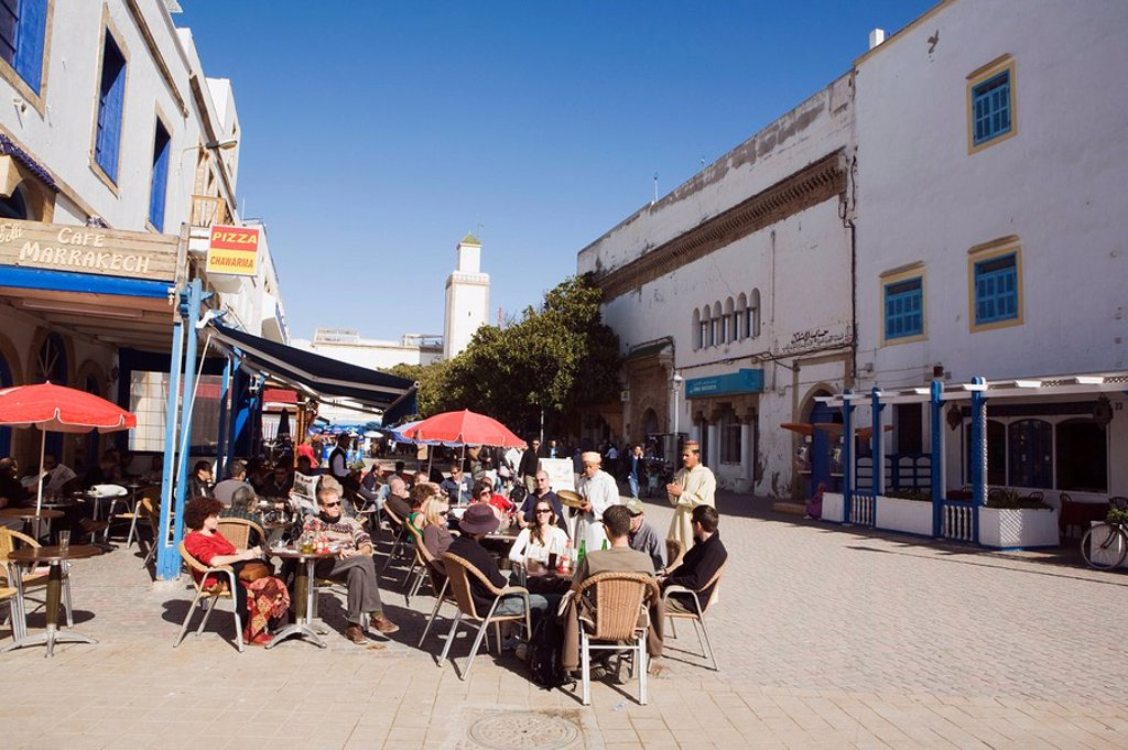 Stock Photo: 1889-58315 Main square cafe, Place Moulay Hassan, Essaouira, Morocco