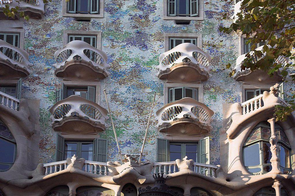 Architecture by Gaudi, Casa Batllo, Barcelona, Spain : Stock Photo