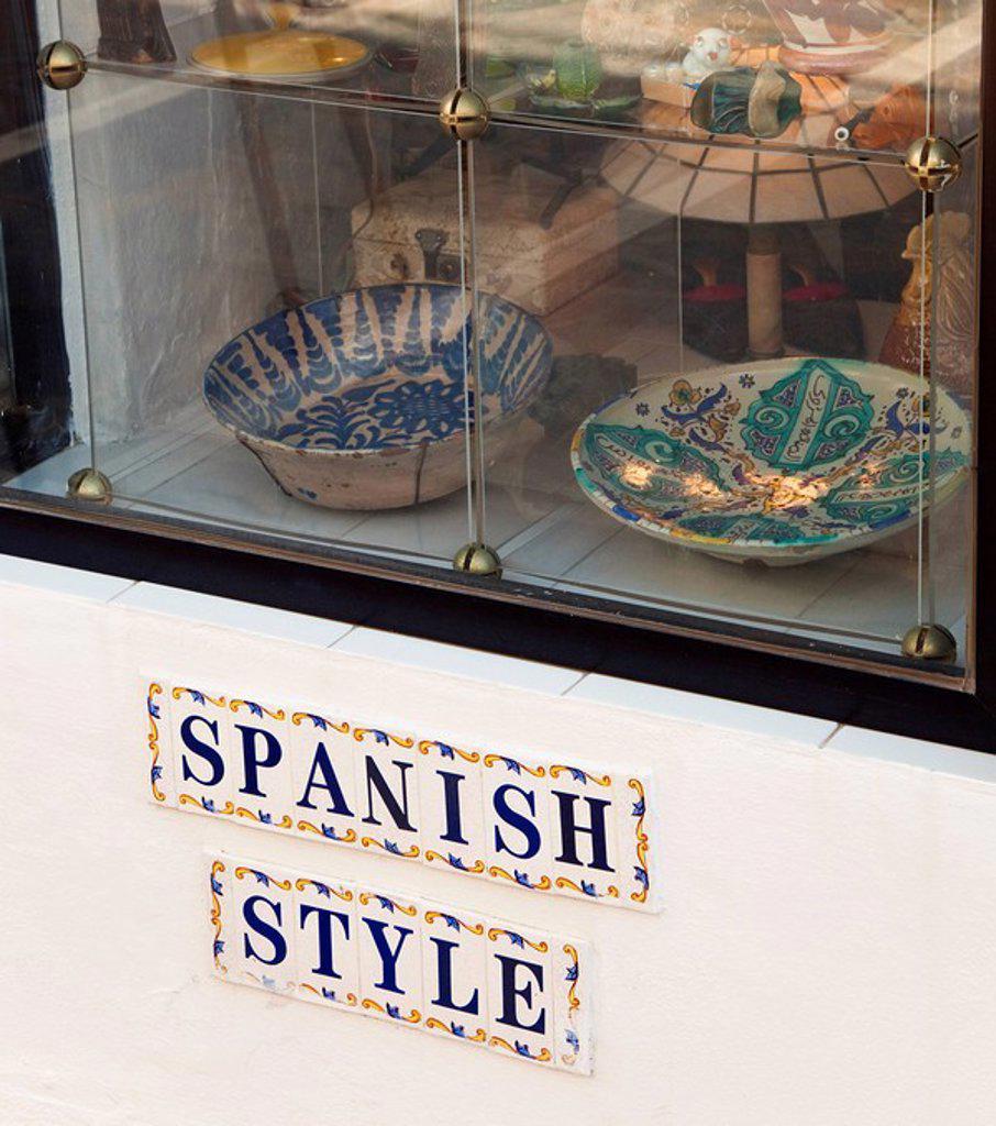Spanish antique pottery in store window, Marbella, Malaga, Spain : Stock Photo