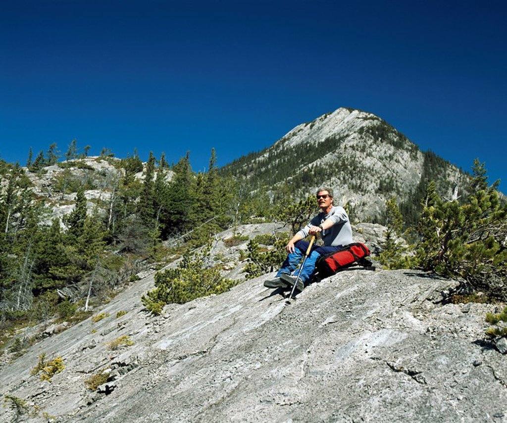 Stock Photo: 1889-59098 Hiking in the Rocky Mountains, Canmore, Alberta, Canada