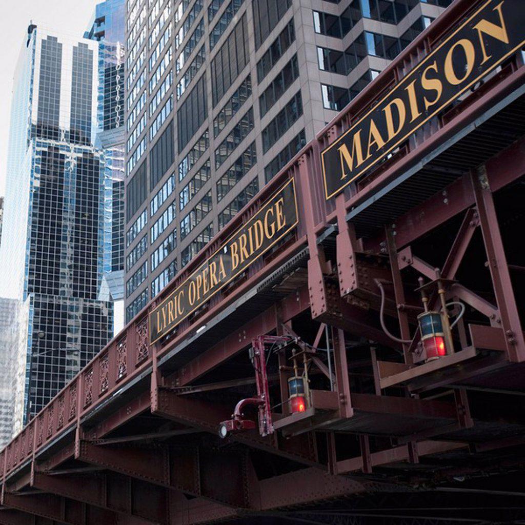 Stock Photo: 1889-59280 Lyric Opera Bridge, Chicago, Illinois, USA