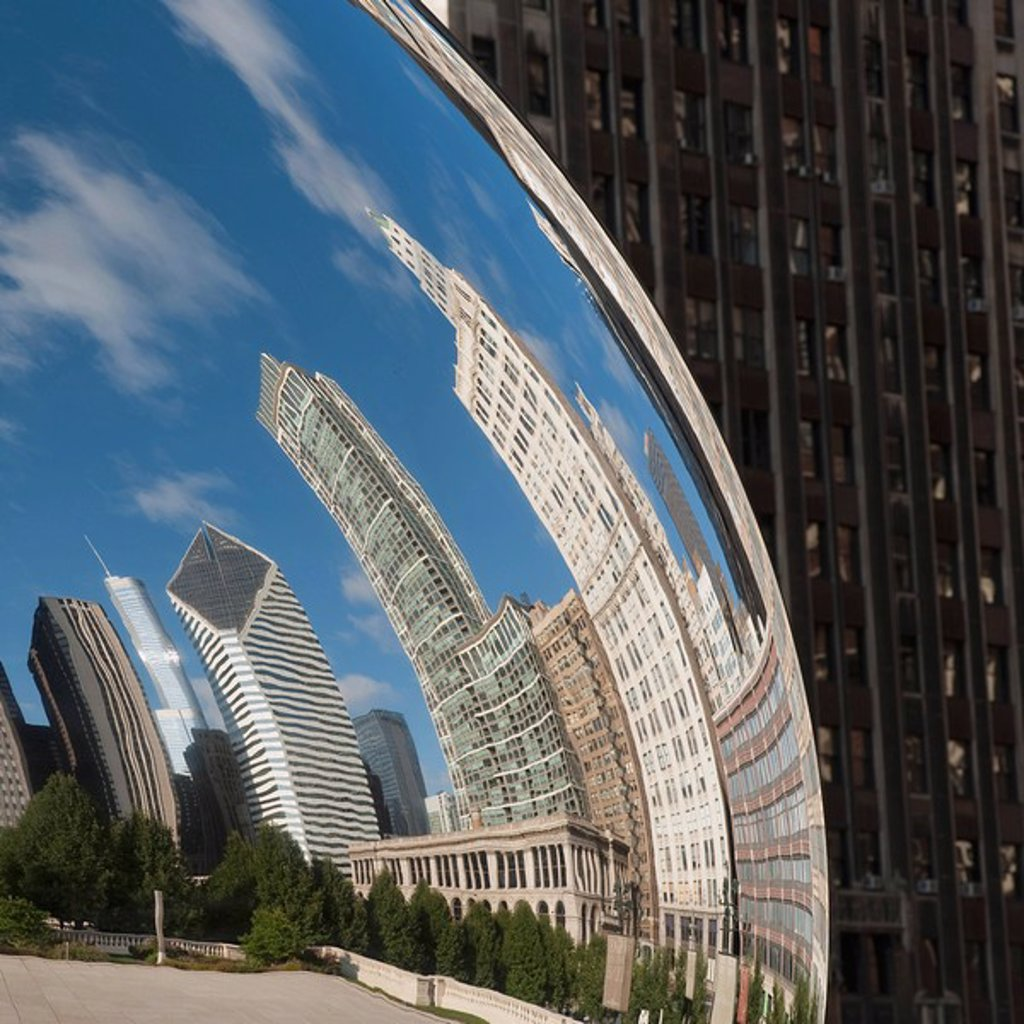 Stock Photo: 1889-59296 Reflection of skysline, Chicago, Illinois, USA