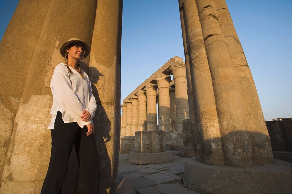Woman tourist at the Temple of Luxor, Luxor, Nile Valley, Egypt : Stock Photo