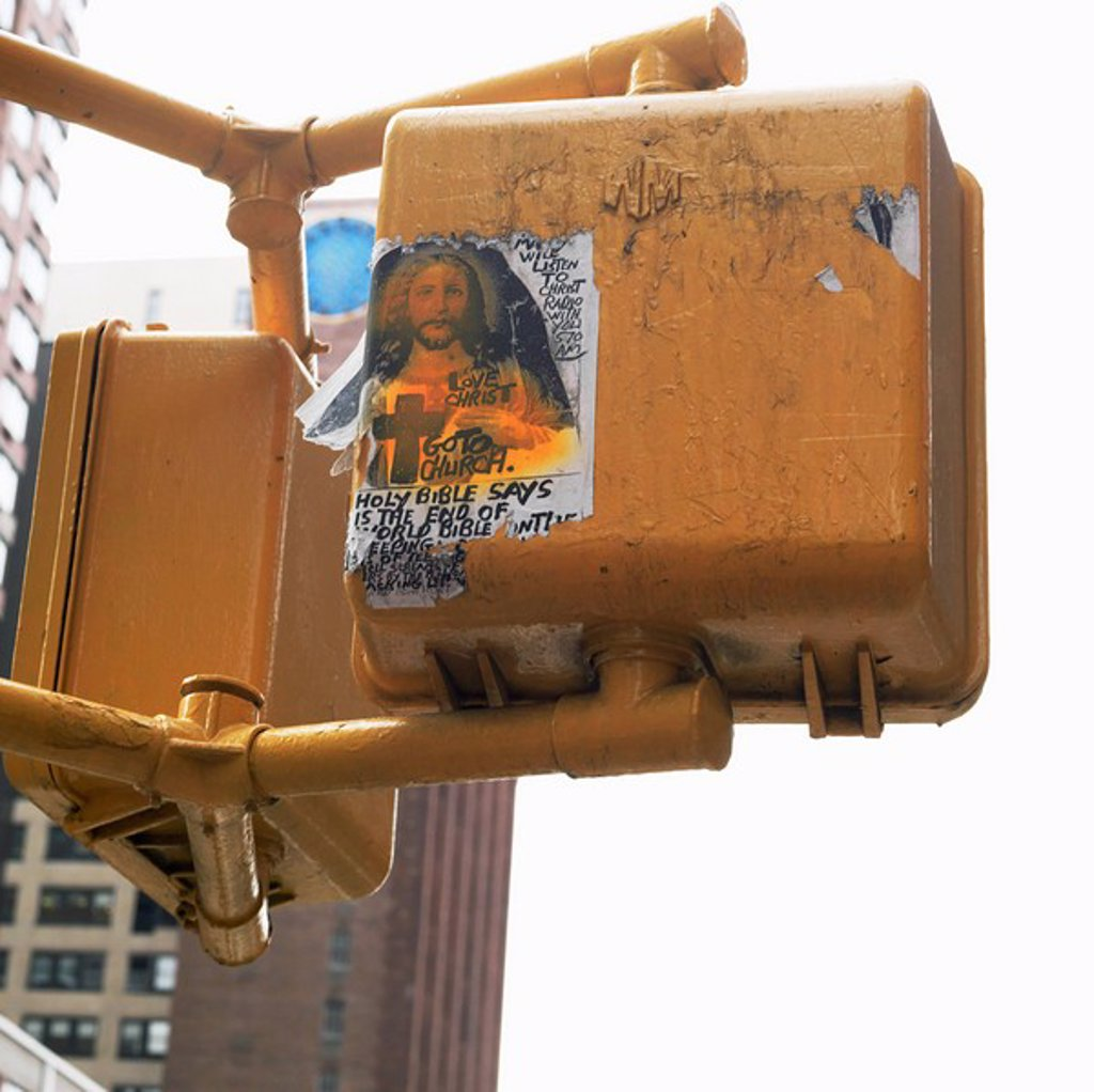 Image of Jesus on back of traffic light, Manhattan, New York, USA : Stock Photo