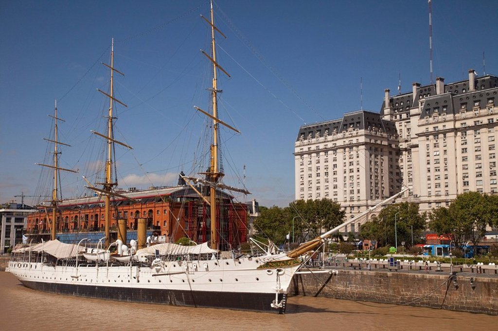 Buenos Aires, Argentina, A Ship Docked In Puerto Madero : Stock Photo