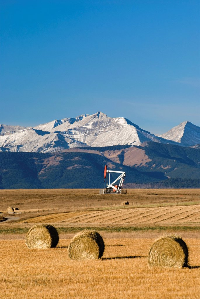 hay bales and an oil pump in a field with mountains in the distance in southern alberta, pincher creek, alberta, canada : Stock Photo