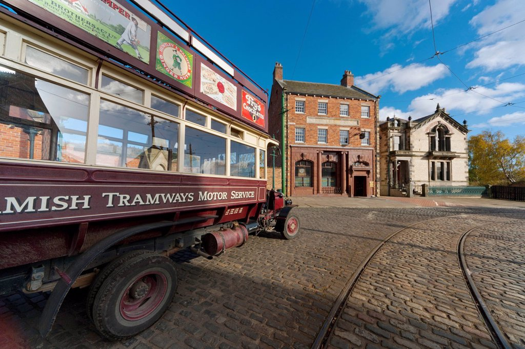 beamish tramways motor service, beamish, durham, england : Stock Photo