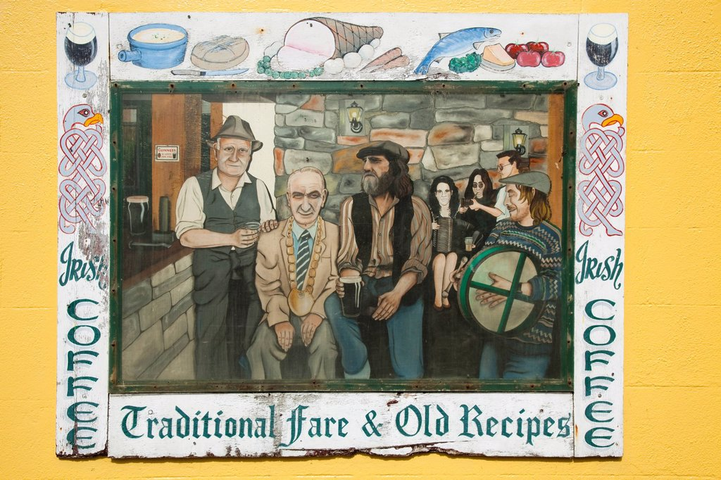 detail of artistic sign in pub, bundoran, county donegal, ireland : Stock Photo