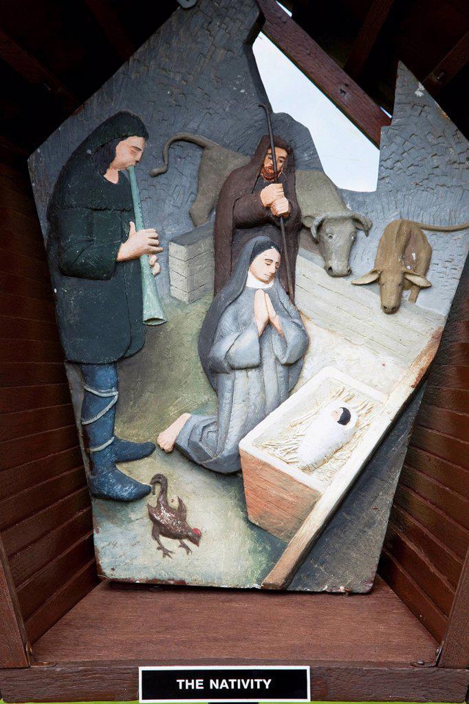 nativity scene at knock shrine cathedral, knock, county mayo, ireland : Stock Photo