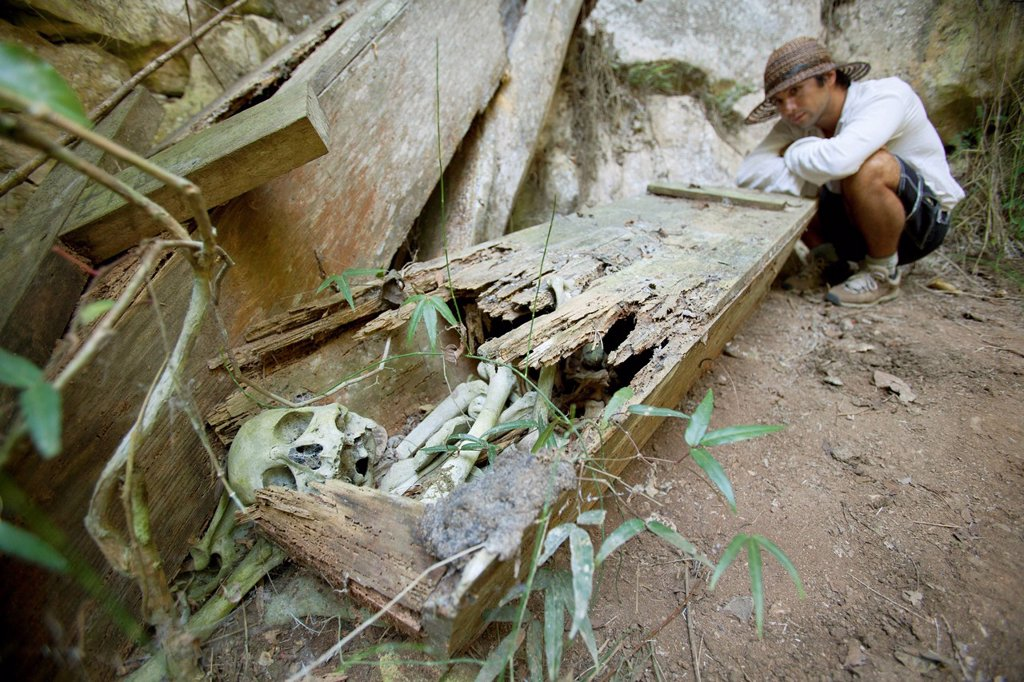 Stock Photo: 1889-63669 a male tourist examines an old coffin with the skeletal human remains intact, that was once hanging high on a cliff, near mountain village of sagada, in the cordillera region, north luzon, philippines