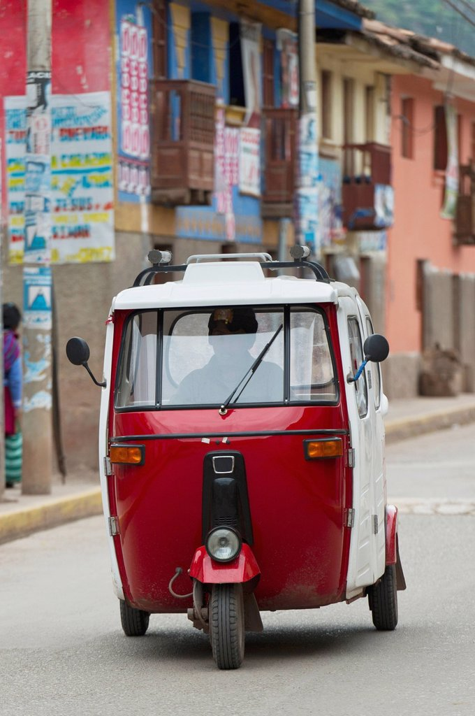 Stock Photo: 1889-65818 A Motorized Vehicle Traveling Down The Street, Cusco Peru
