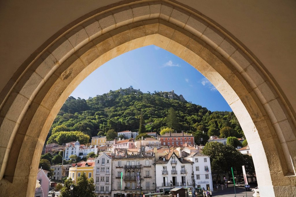 castle of the moors from the national palace, sintra, portugal : Stock Photo