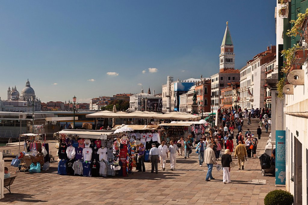 street vendors along the waterfront, venice italy : Stock Photo