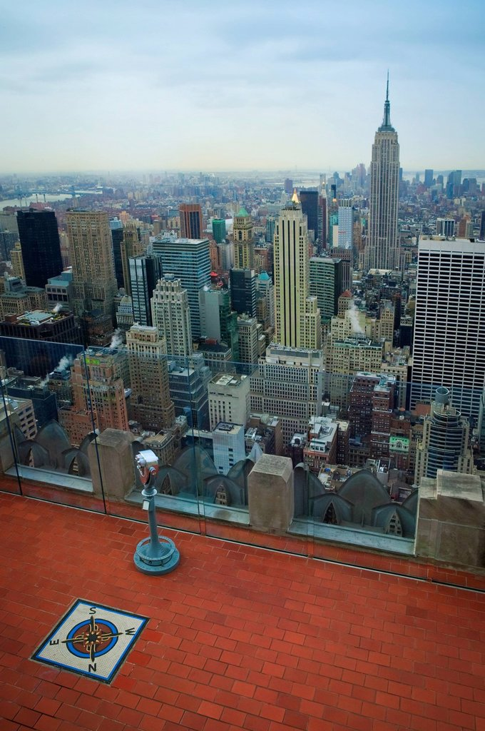 Stock Photo: 1889-66514 view from the top of the rock observatory, new york city new york united states of america