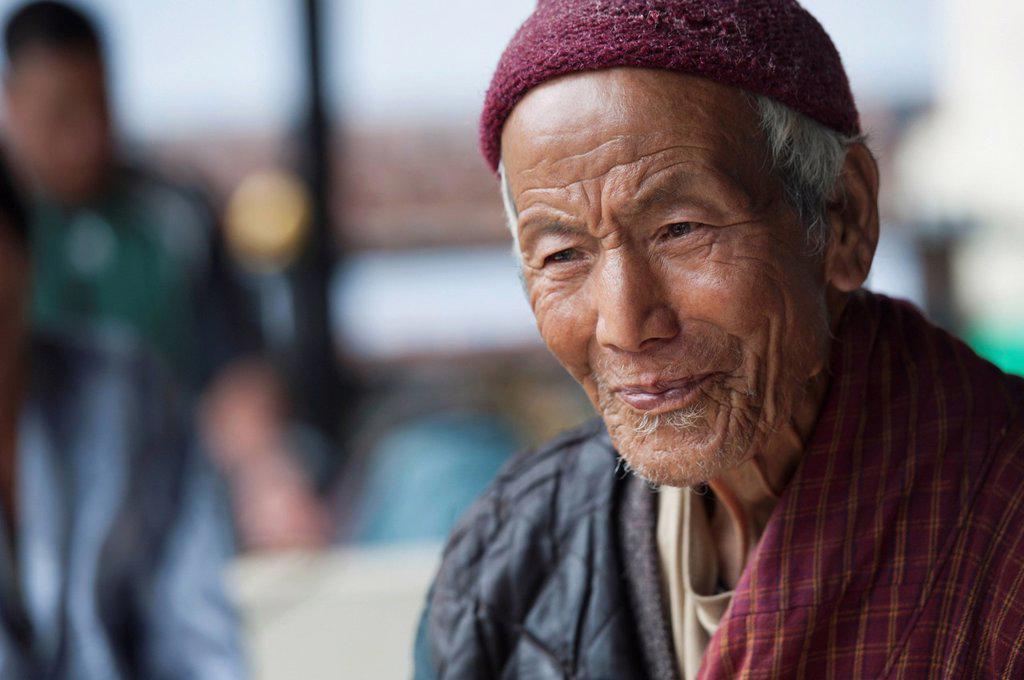 Stock Photo: 1889-66714 Portrait Of Senior Bhutanese Man, Thimphu Bhutan