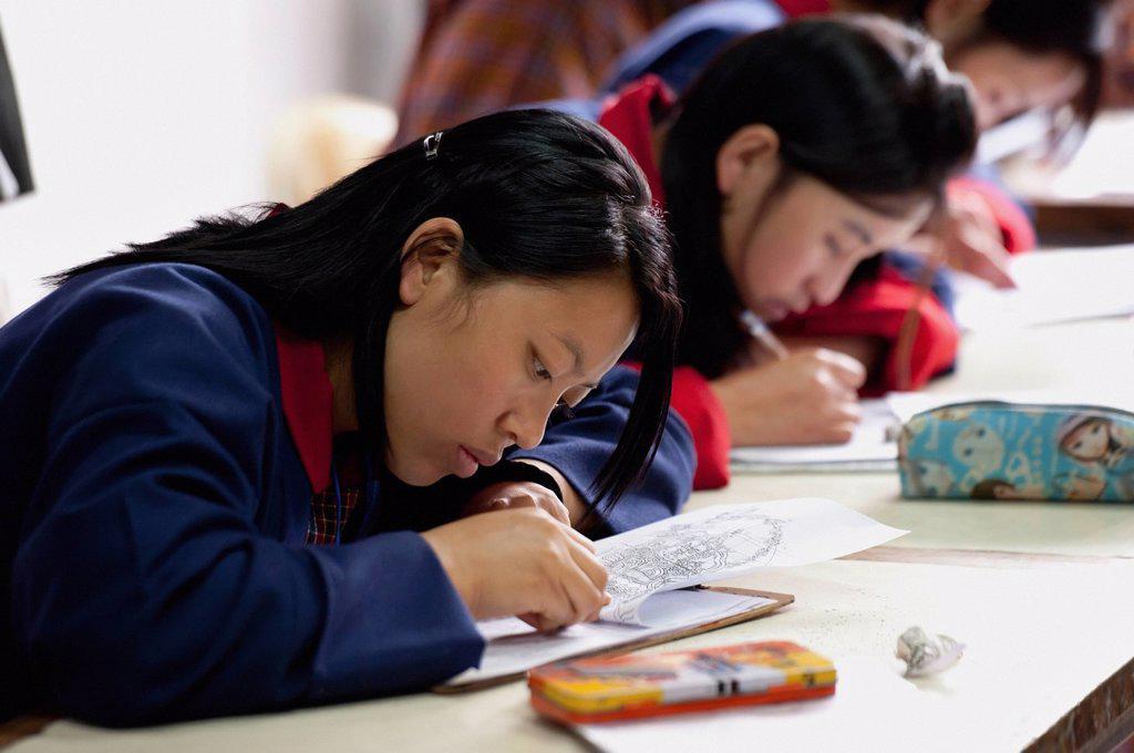 Art Students In National Institute Of Zorig Chusum, Thimphu Bhutan : Stock Photo