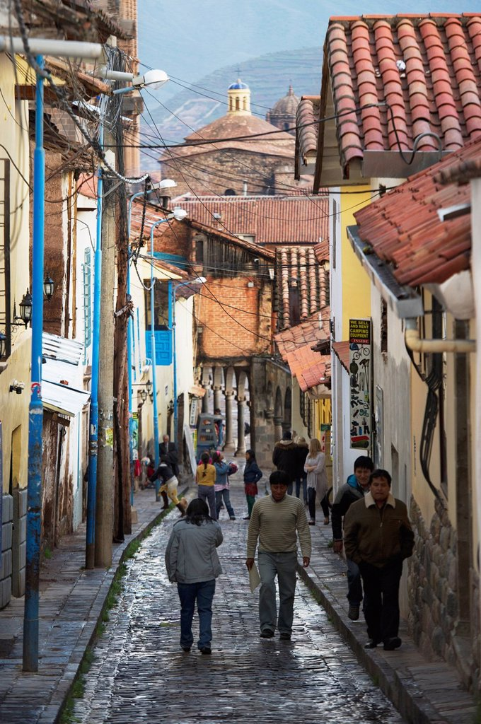 People Walking In The Street, Cusco Peru : Stock Photo