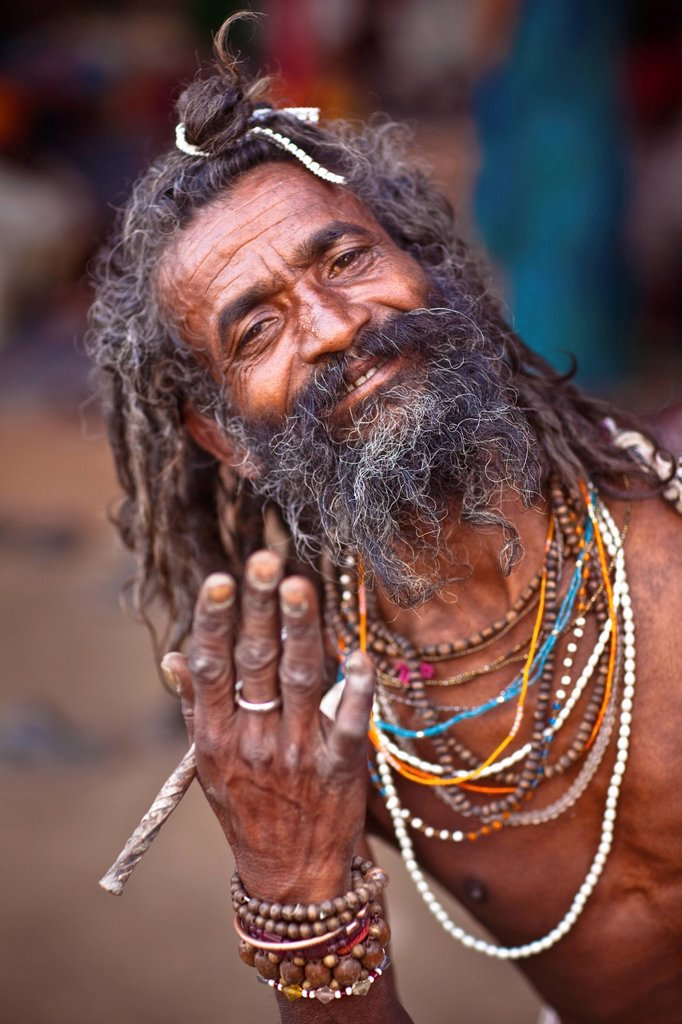 A Holy Man Of Hinduism, Haridwar India : Stock Photo