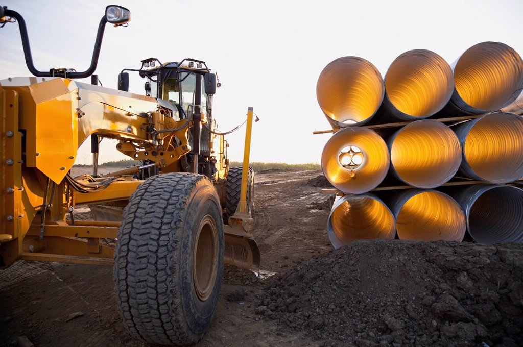 Stock Photo: 1889-72703 culvert pipe used in road construction, edmonton, alberta, canada