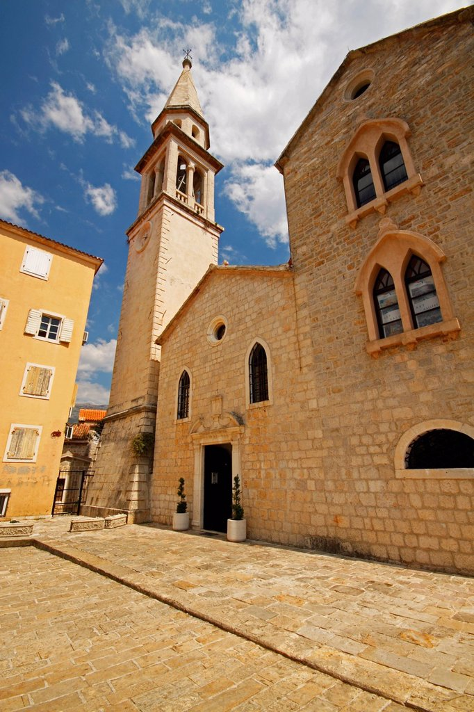 Church Building In The Old Town Of Budva, Budva Montenegro : Stock Photo