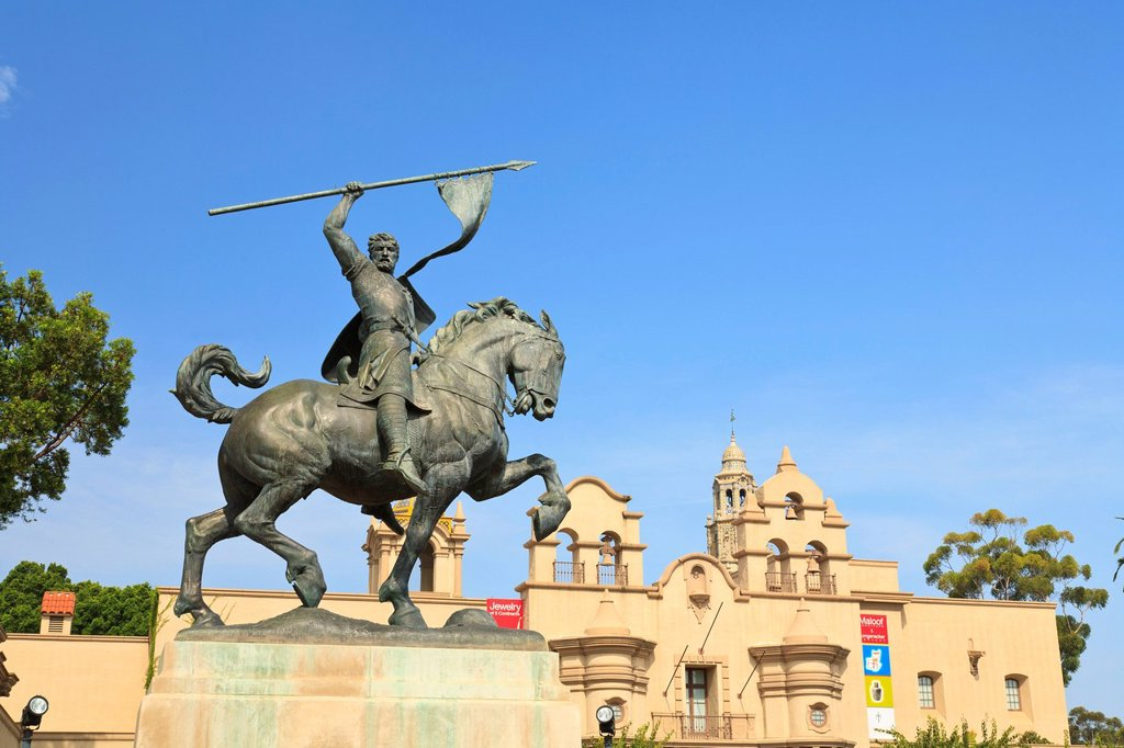 Stock Photo: 1889-74655 An Equestrian Statue At Museum Of Man In Balboa Park, San Diego California United States Of America