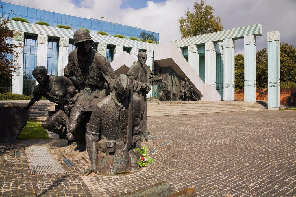 Statues And Monument Commemorating The Polish Heroes Of The Warsaw Uprising Of August 1944, Warsaw Poland : Stock Photo