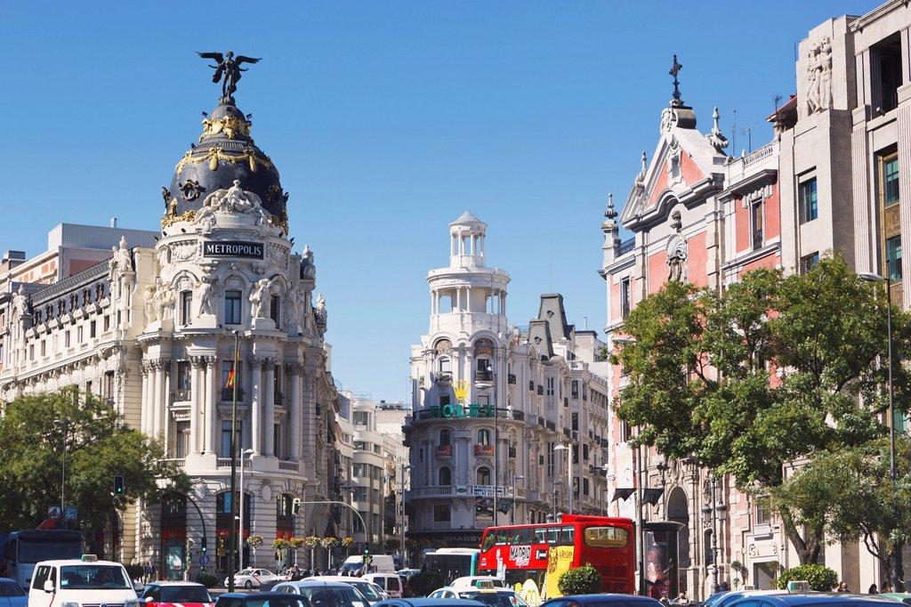 Corner of calle de alcala and gran via, madrid spain : Stock Photo