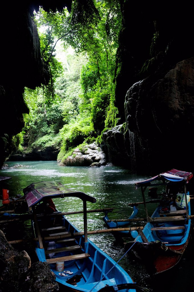 Stock Photo: 1889-75016 Boats on a river, green canyon pangandaran java indonesia