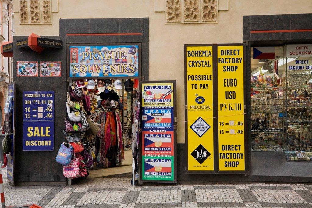 Stock Photo: 1889-75021 Souvenir shop in the old town district, prague czech republic