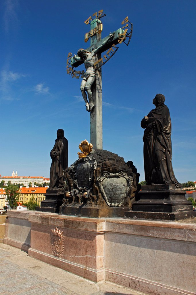 Stock Photo: 1889-75258 Statues And Crucifix On Charles Bridge Or Karluv Most, Prague Czech Republic