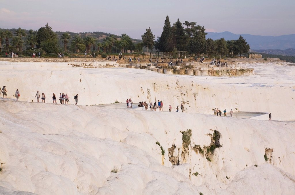 Stock Photo: 1889-75407 Tourists Visiting The Travertine Terraces, Pamukkale Aegean Region Turkey
