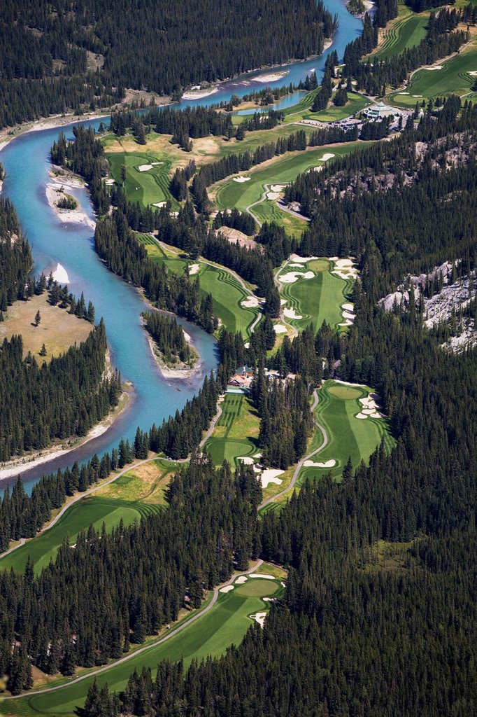 Stock Photo: 1889-75414 High Angle Of Banff Springs Golf Course Along The Bow River, Banff Alberta Canada