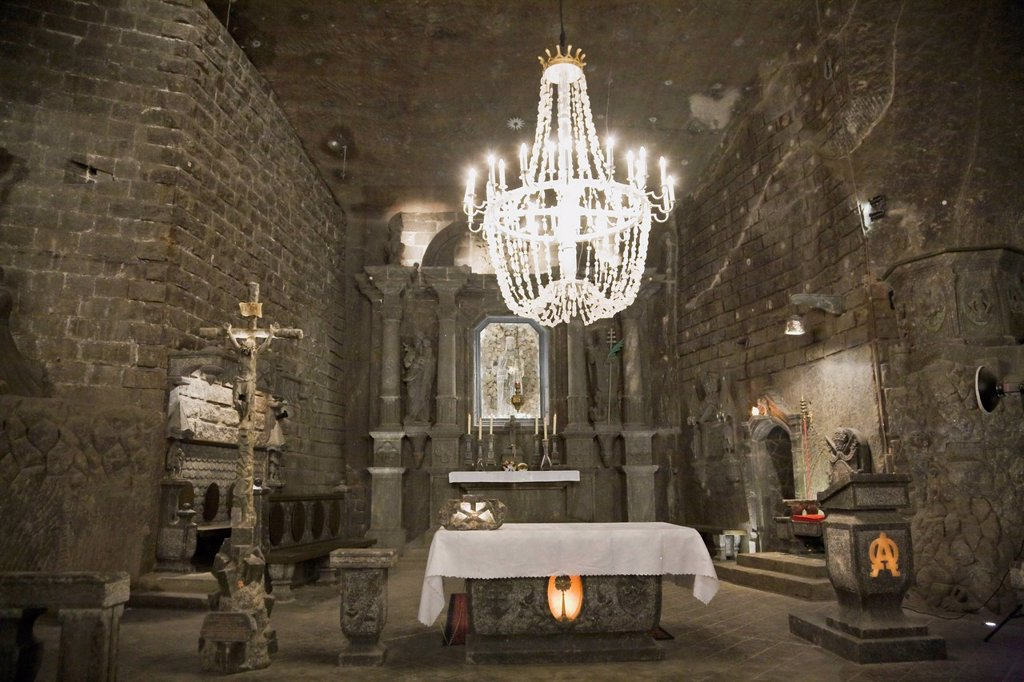 Stock Photo: 1889-75432 Chapel Of The Blessed Kinga Inside The Wieliczka Salt Mine, Cracow Poland