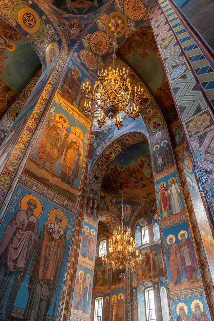 Stock Photo: 1889-75485 Mosaic on the walls inside church of the savior on spilled blood, st. petersburg russia