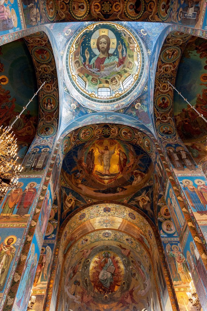Stock Photo: 1889-75486 Mosaic on the walls inside church of the savior on spilled blood, st. petersburg russia