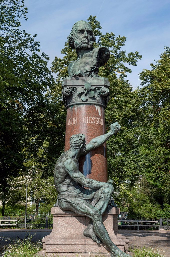 Stock Photo: 1889-75519 Statue of john ericsson in the royal garden, stockholm sweden