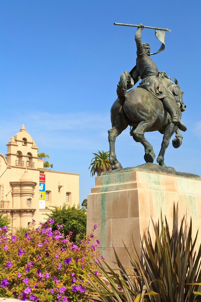 An Equestrian Statue At Museum Of Man In Balboa Park, San Diego California United States Of America : Stock Photo