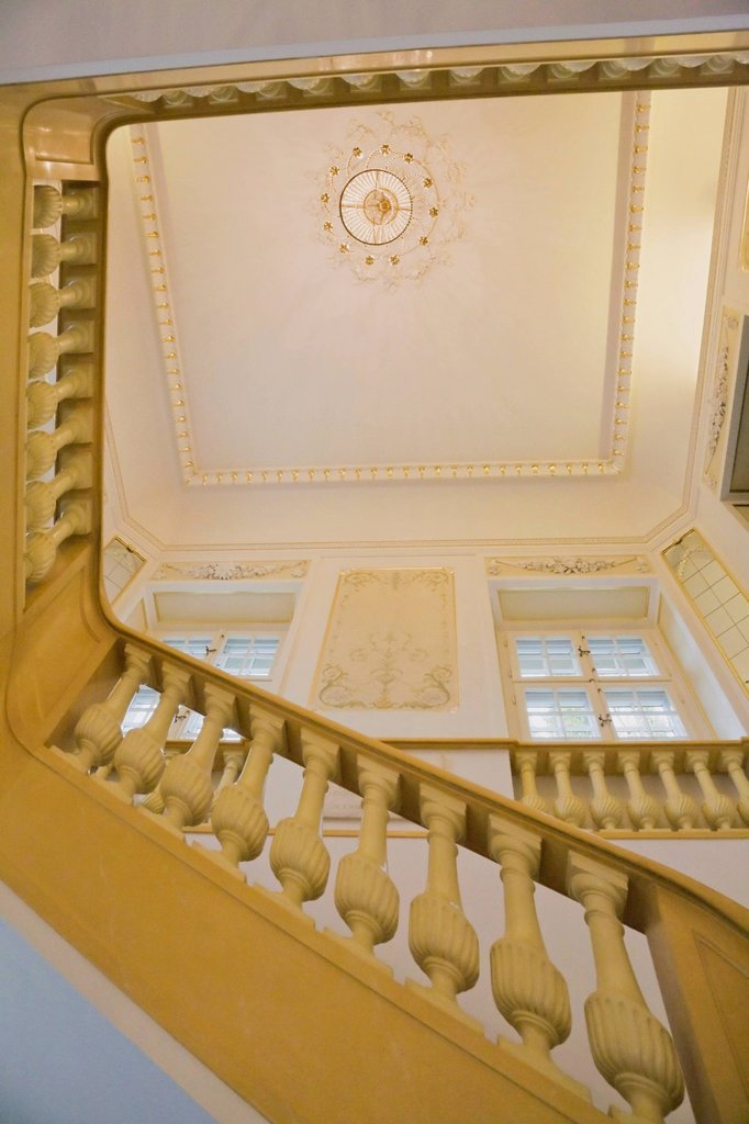 Interior Staircase In The Frederic Chopin Museum Building, Warsaw Poland : Stock Photo