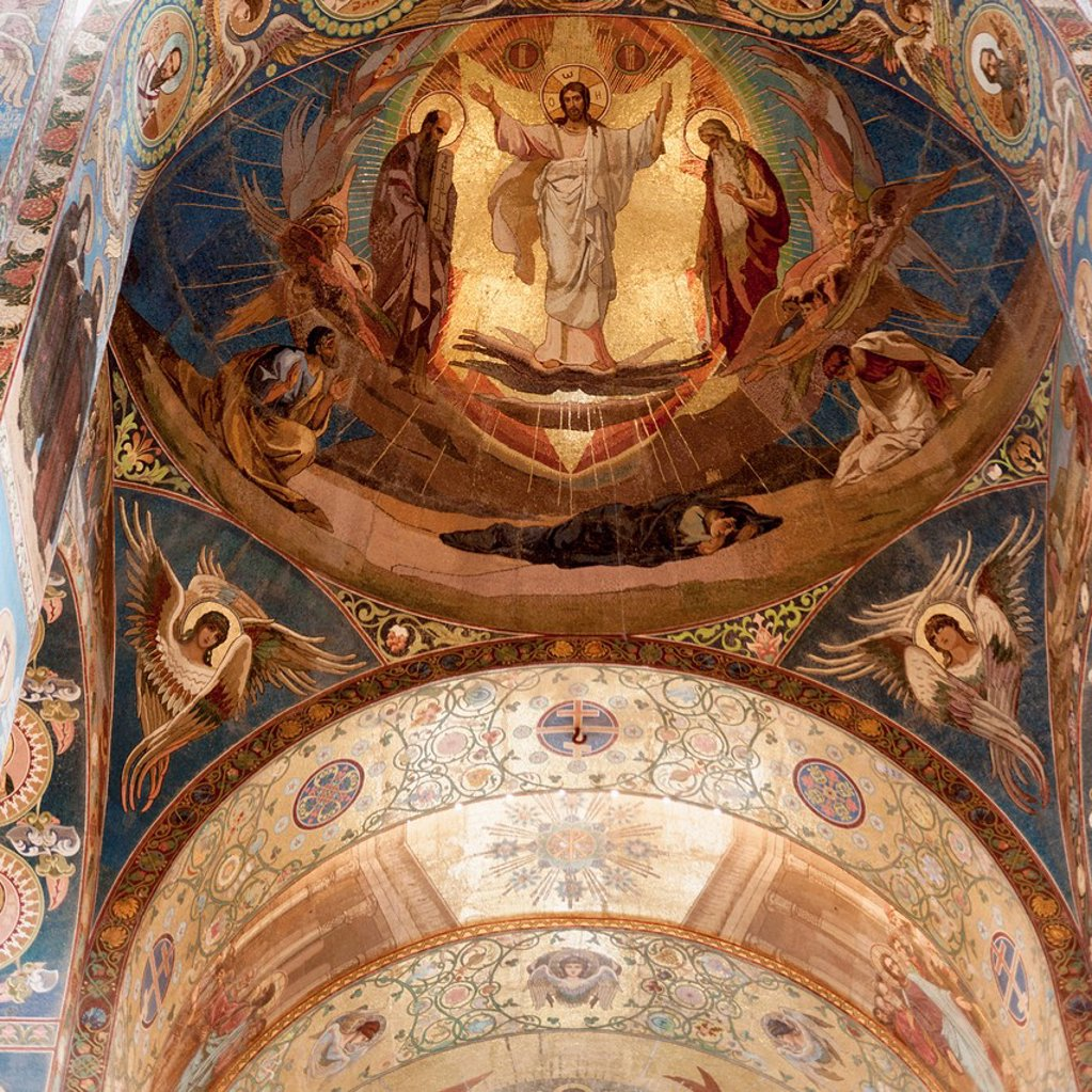 Mosaic of a religious figures in church of the savior on spilled blood, st. petersburg russia : Stock Photo