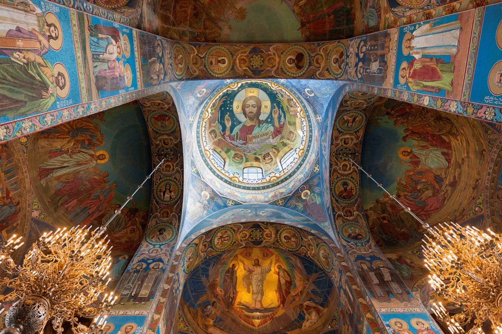 Stock Photo: 1889-76164 Mosaics inside the church of the savior of spilled blood, st. petersburg russia