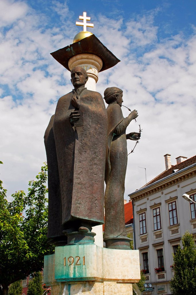 Monument In The Old Town Of Sopron, Gyor_Moson_Sopron Hungary : Stock Photo